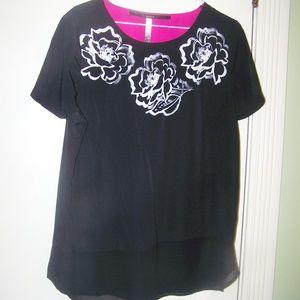 Kensie Black Floral Blouse Top Tunic Size L